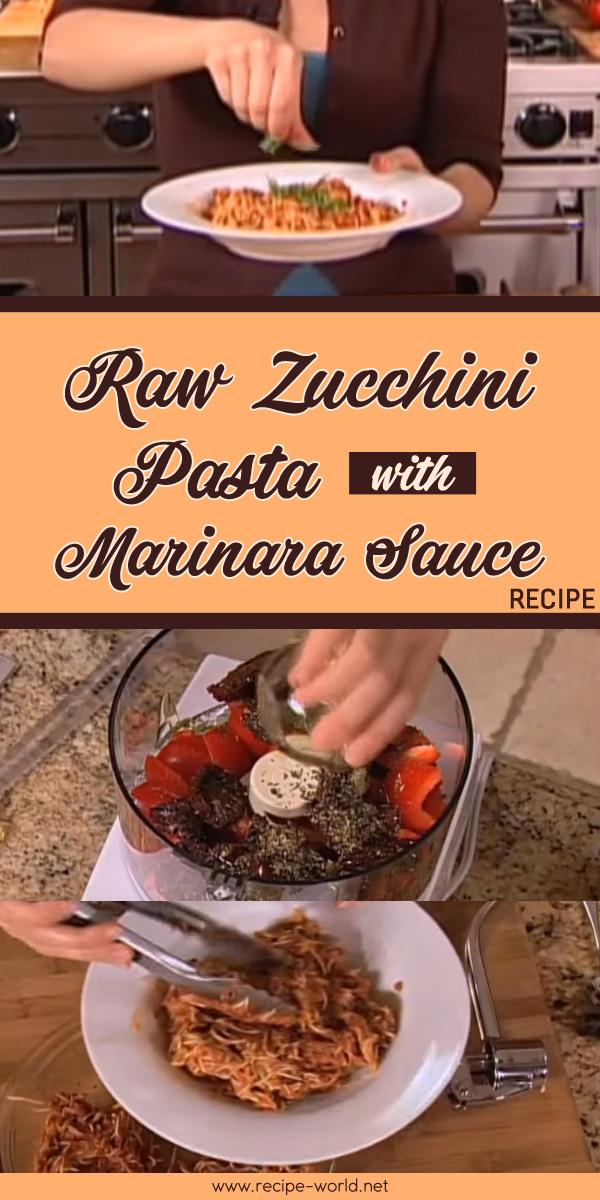 Raw Zucchini Pasta With Marinara Sauce