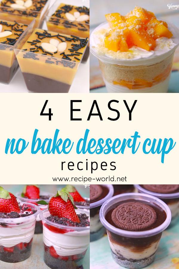4 Easy No-Bake Dessert Cup Recipes - Eggless Dessert Idea