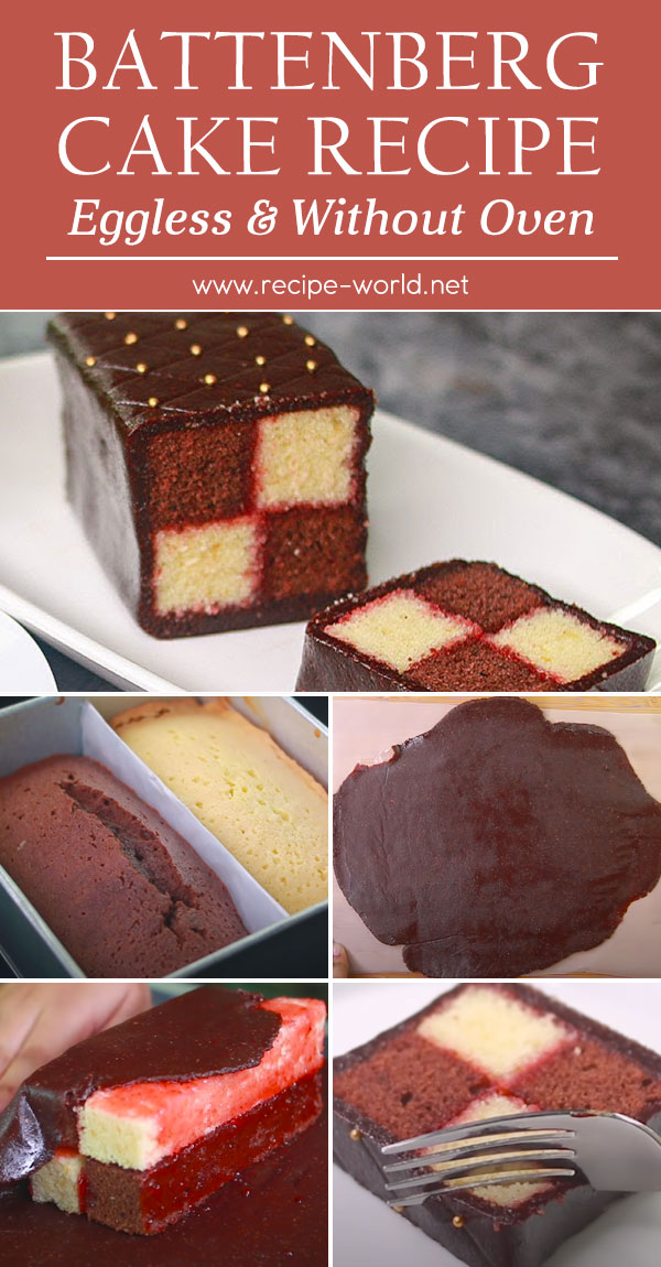 Battenberg Cake Recipe - Eggless & Without Oven