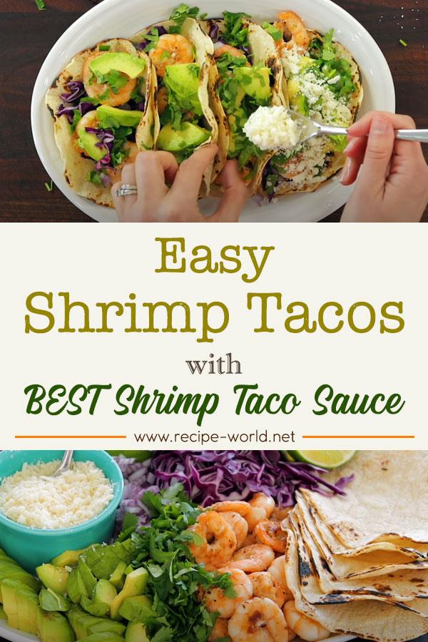 Easy SHRIMP TACOS with Best Shrimp Taco Sauce