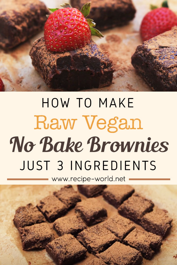 Raw Vegan No Bake Brownies - Just 3 Ingredients