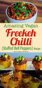 Amazing Vegan Freekeh Chili (Stuffed Bell Peppers)