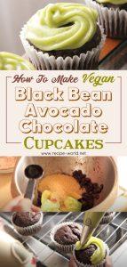 Vegan Black Bean Avocado Chocolate Cupcakes