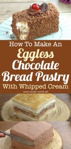 Eggless Chocolate Bread Pasty With Whipped Cream