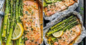 Foil Salmon And Asparagus in Garlic Butter Sauce
