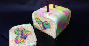 Rainbow Tie Dye Surprise Cake Heart