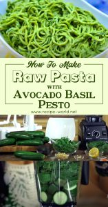 Raw Pasta with Avocado Basil Pesto